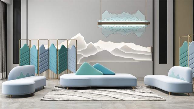 梵创山水系列布艺沙发